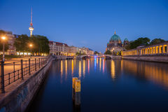 Berlin River Spree, Berliner Dom, and TV Tower. Berlin's River Spree, the Berliner Dom, and TV Tower (Fernsehturm) at twilight Royalty Free Stock Image