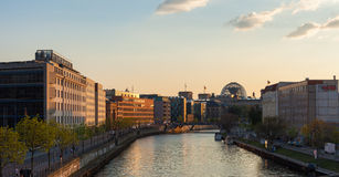 Berlin River Spree and Reichstag Stock Photography