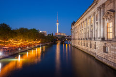 Berlin River Spree, TV Tower, Bode Museum side Stock Photos