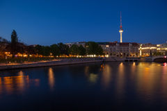 Berlin River Spree and TV Tower (Fernsehturm) Stock Images