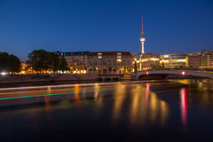 Berlin River Spree and TV Tower (Fernsehturm) Stock Photography