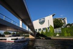 Berlin riverside view with bundeskanzleramt Royalty Free Stock Images