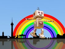 Berlin robot flying into the rainbow Royalty Free Stock Photo