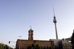 Berlin: Rotes Rathaus and Fernsehturm Stock Photo