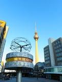 Berlin's Alexanderplatz, Weltzeituhr (World Time Clock) Stock Photos