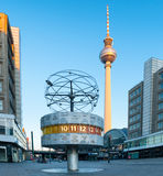 Berlin's Alexanderplatz, World Time Clock. BERLIN - JUNE 23: Berlin's Alexanderplatz, Weltzeituhr (World Time Clock), and TV Tower on February 17, 2016 in Berlin Stock Photo
