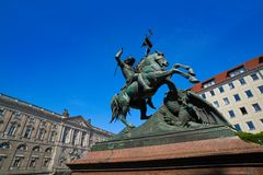Berlin Saint Georges statue in Germany. Beside Spree river Royalty Free Stock Images