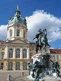 Berlin Schloss Charlottenburg Palace Germany. View of Berlin Schloss Charlottenburg palace with statue of Friedrich Wilhelm I of Brandenburg in a beautiful Stock Photos