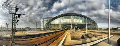 BERLIN, SEP, 27 2008: Panoramic view of modern Berlin architecture of rail way station platform rail tracks. Berlin architecture. Railway station biggest in Royalty Free Stock Images