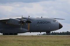 BERLIN - 11. SEPTEMBER: Militärtransporter Airbus A400M gezeigt an ILA Lizenzfreie Stockfotografie