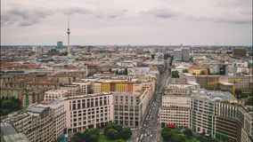 BERLIN - SEPTEMBER 15: Time lapse, roof top view of city center, September 15, 2017 in Berlin, Germany. Panoramic view of Leipziger street from Potsdamer Platz stock footage