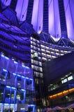 Berlin, Sierpień 27: Sony Ześrodkowywa wnętrze w nocy od Berlin w Niemcy Zdjęcie Stock