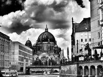 Berlin sight Konstnärlig blick i svartvitt Arkivfoto