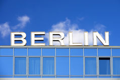 Berlin sign. Letters of berlin sign in front of blue sky Stock Photography