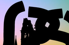 Berlin Silhouette. Silhouette of Kaiser Wilhelms Gedachtniskirche in Berlin royalty free stock photo