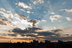 Berlin Skyline. With lots of clouds and sunsets Royalty Free Stock Photo