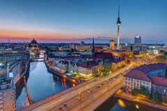 The Berlin skyline at the blue hour Stock Photos