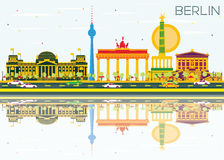 Berlin Skyline with Color Buildings, Blue Sky and Reflections. Vector Illustration. Business Travel and Tourism Concept with Historic Architecture. Image for Stock Illustration