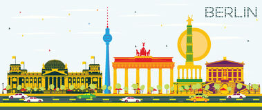 Berlin Skyline with Color Buildings and Blue Sky. Vector Illustration. Business Travel and Tourism Concept with Historic Architecture. Image for Presentation Royalty Free Stock Photos