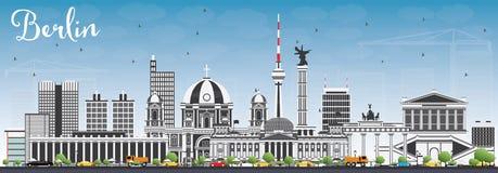 Berlin Skyline con Gray Buildings e cielo blu Immagine Stock Libera da Diritti