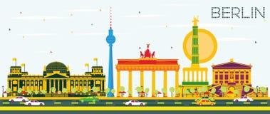 Berlin Skyline con le costruzioni ed il cielo blu di colore Fotografie Stock Libere da Diritti