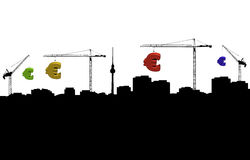 Berlin skyline with cranes and euros Royalty Free Stock Photos
