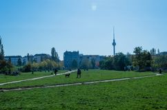 Berlin Skyline and empty park. Taken on weekday in mauerpark Royalty Free Stock Photo