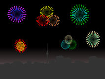 Berlin skyline with fireworks. Berlin skyline at night with colourful fireworks illustration Royalty Free Stock Photo