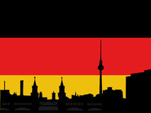 Berlin skyline with flag Royalty Free Stock Images