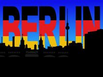 Berlin skyline with flag text Royalty Free Stock Image