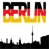 Berlin skyline with flag text Royalty Free Stock Photos