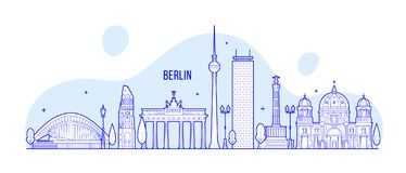 Berlin skyline Germany city buildings vector Stock Image