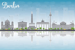 Berlin skyline with grey building, blue sky and reflections Royalty Free Stock Photography