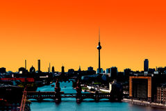 Berlin Skyline Panorama sunset Royalty Free Stock Photo