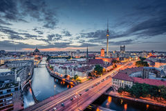 Berlin skyline panorama in twilight during blue hour, Germany Royalty Free Stock Photo