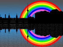 Berlin skyline with rainbow Stock Photos