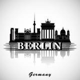 Berlin Skyline Silueta de la ciudad del vector Fotografía de archivo libre de regalías