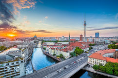 Berlin skyline with Spree river in summer, Germany Stock Photography