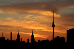 Berlin skyline at sunset Stock Photography