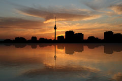 Berlin skyline at sunset Royalty Free Stock Images