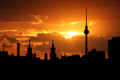 Berlin skyline at sunset Stock Image