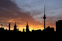 Berlin skyline at sunset Royalty Free Stock Photography