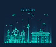 Berlin skyline trendy vector illustration linear Royalty Free Stock Photography