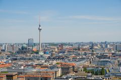 Berlin skyline with tv tower stock image