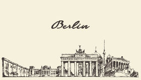 Berlin skyline vector illustration drawn sketch. Berlin skyline vintage vector engraved illustration hand drawn sketch Royalty Free Stock Image