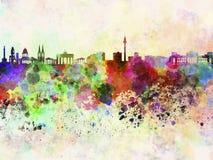 Berlin skyline in watercolor background Stock Photos