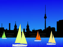 Berlin skyline and yachts Royalty Free Stock Image