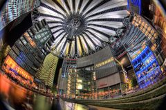 Berlin Sony Center. The Sony Center is Sony-sponsored building complex located at the Potsdamer Platz. Sony Center contains a mix of shops, restaurants. It Royalty Free Stock Image