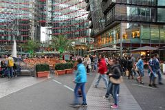 Berlin Sony Center. BERLIN, GERMANY - AUGUST 26, 2014: People visit Sony Center in Berlin. The modern complex was completed in 2000 and is Sony European Stock Photos