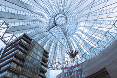 Berlin Sony Center roof. Roof of Berlin Sony Center at Potsdamer Platz. The center was designed by Helmut Jahn and construction was completed in 2000 Stock Photo